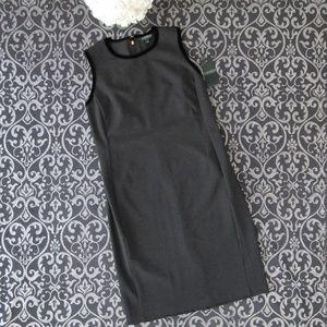 NWT Ralph Lauren Gray Velvet Trim Ponte Midi Dress